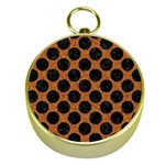 CIRCLES2 BLACK MARBLE & RUSTED METAL Gold Compasses Front