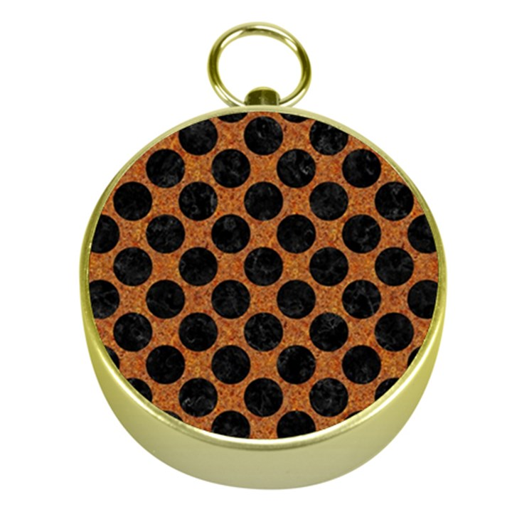 CIRCLES2 BLACK MARBLE & RUSTED METAL Gold Compasses