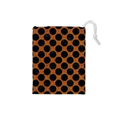 Circles2 Black Marble & Rusted Metal Drawstring Pouches (small)