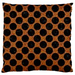CIRCLES2 BLACK MARBLE & RUSTED METAL Large Flano Cushion Case (One Side) Front