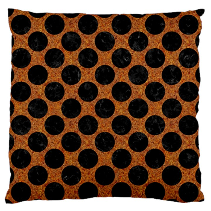 CIRCLES2 BLACK MARBLE & RUSTED METAL Large Flano Cushion Case (One Side)