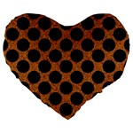 CIRCLES2 BLACK MARBLE & RUSTED METAL Large 19  Premium Flano Heart Shape Cushions Front