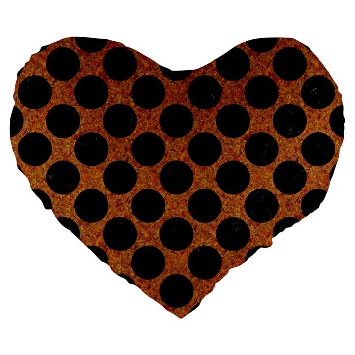 CIRCLES2 BLACK MARBLE & RUSTED METAL Large 19  Premium Flano Heart Shape Cushions
