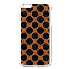 Circles2 Black Marble & Rusted Metal Apple Iphone 6 Plus/6s Plus Enamel White Case