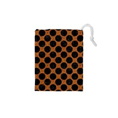 Circles2 Black Marble & Rusted Metal Drawstring Pouches (xs)