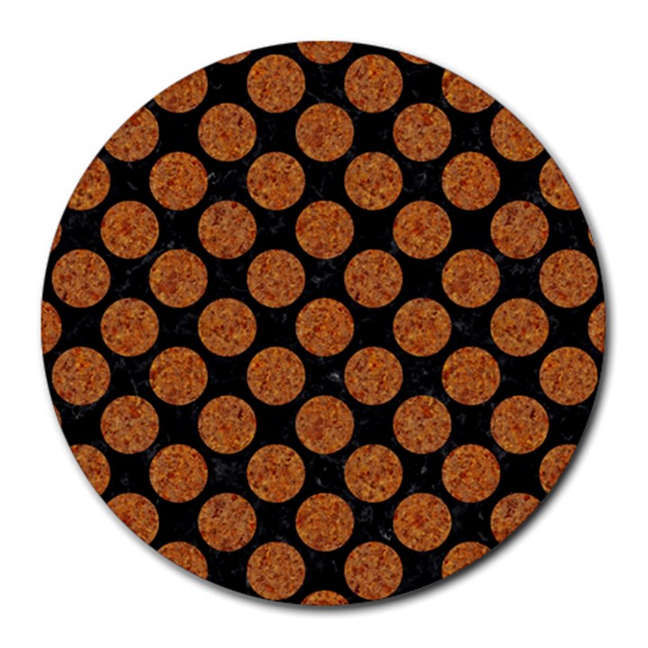CIRCLES2 BLACK MARBLE & RUSTED METAL (R) Round Mousepads