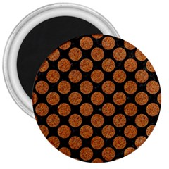 Circles2 Black Marble & Rusted Metal (r) 3  Magnets