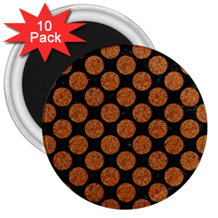 CIRCLES2 BLACK MARBLE & RUSTED METAL (R) 3  Magnets (10 pack)