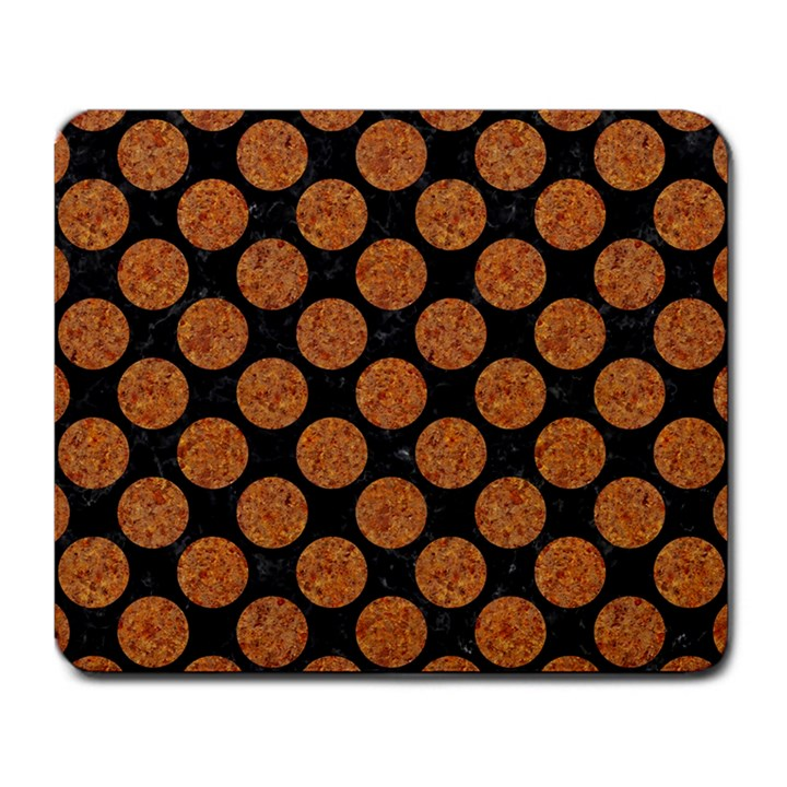 CIRCLES2 BLACK MARBLE & RUSTED METAL (R) Large Mousepads