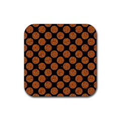 Circles2 Black Marble & Rusted Metal (r) Rubber Square Coaster (4 Pack)