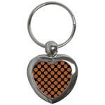 CIRCLES2 BLACK MARBLE & RUSTED METAL (R) Key Chains (Heart)  Front