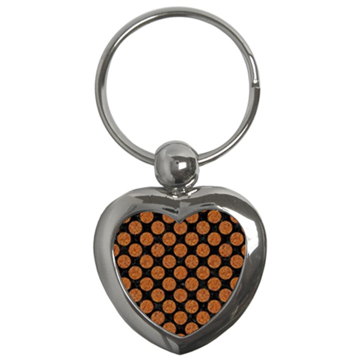 CIRCLES2 BLACK MARBLE & RUSTED METAL (R) Key Chains (Heart)