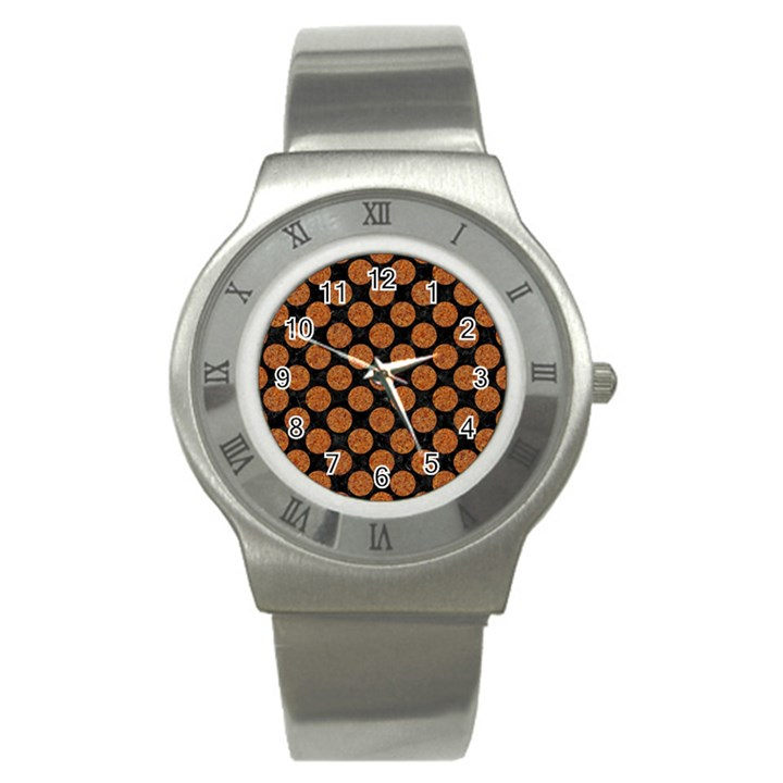 CIRCLES2 BLACK MARBLE & RUSTED METAL (R) Stainless Steel Watch