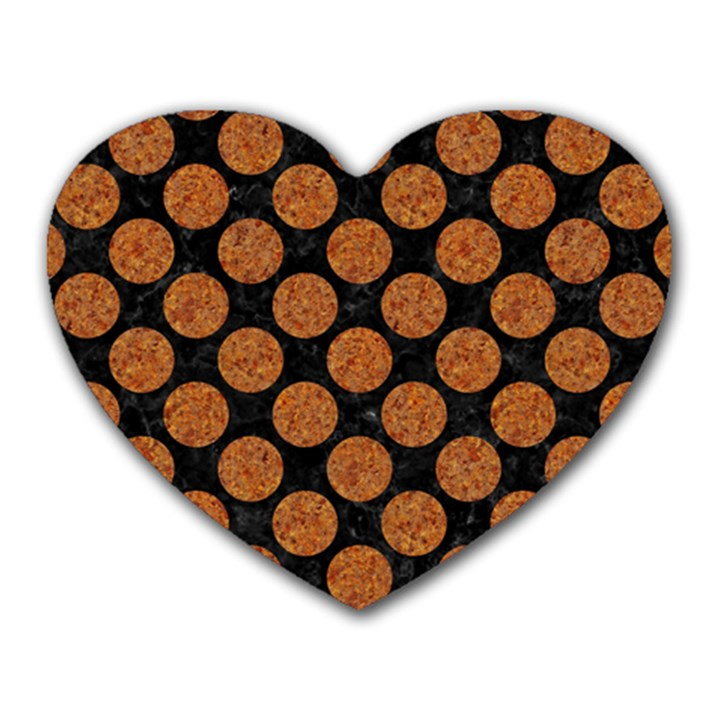 CIRCLES2 BLACK MARBLE & RUSTED METAL (R) Heart Mousepads