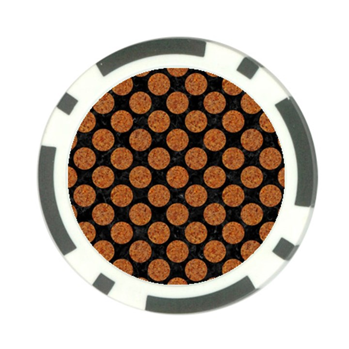 CIRCLES2 BLACK MARBLE & RUSTED METAL (R) Poker Chip Card Guard