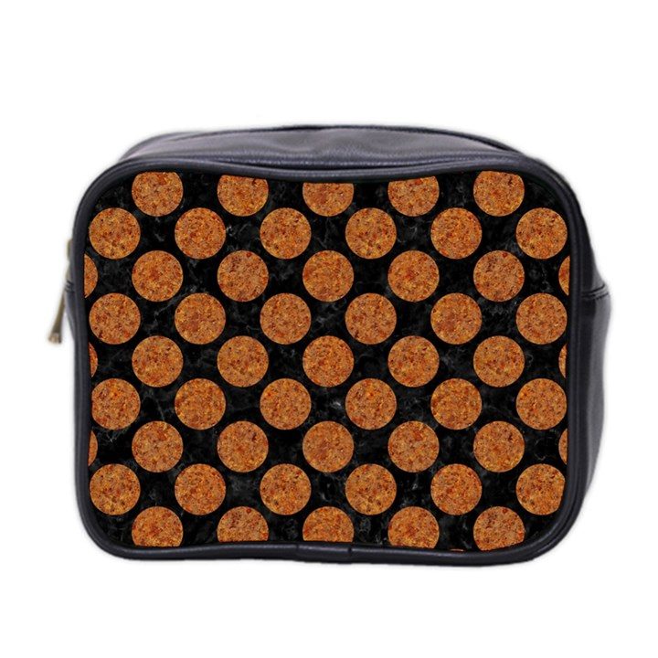 CIRCLES2 BLACK MARBLE & RUSTED METAL (R) Mini Toiletries Bag 2-Side