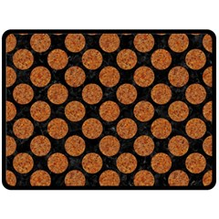 Circles2 Black Marble & Rusted Metal (r) Fleece Blanket (large)