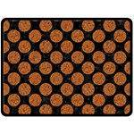 CIRCLES2 BLACK MARBLE & RUSTED METAL (R) Fleece Blanket (Large)  80 x60 Blanket Front