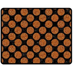 Circles2 Black Marble & Rusted Metal (r) Fleece Blanket (medium)