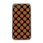 CIRCLES2 BLACK MARBLE & RUSTED METAL (R) Apple iPhone 4 Case (Clear) Front