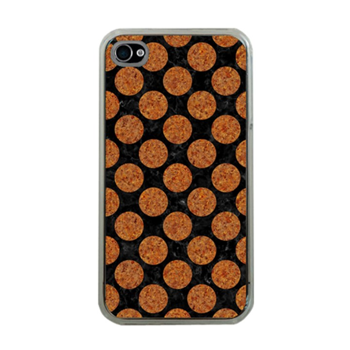 CIRCLES2 BLACK MARBLE & RUSTED METAL (R) Apple iPhone 4 Case (Clear)