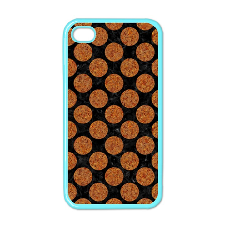 CIRCLES2 BLACK MARBLE & RUSTED METAL (R) Apple iPhone 4 Case (Color)