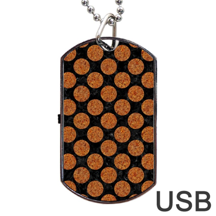 CIRCLES2 BLACK MARBLE & RUSTED METAL (R) Dog Tag USB Flash (Two Sides)