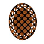 CIRCLES2 BLACK MARBLE & RUSTED METAL (R) Ornament (Oval Filigree) Front