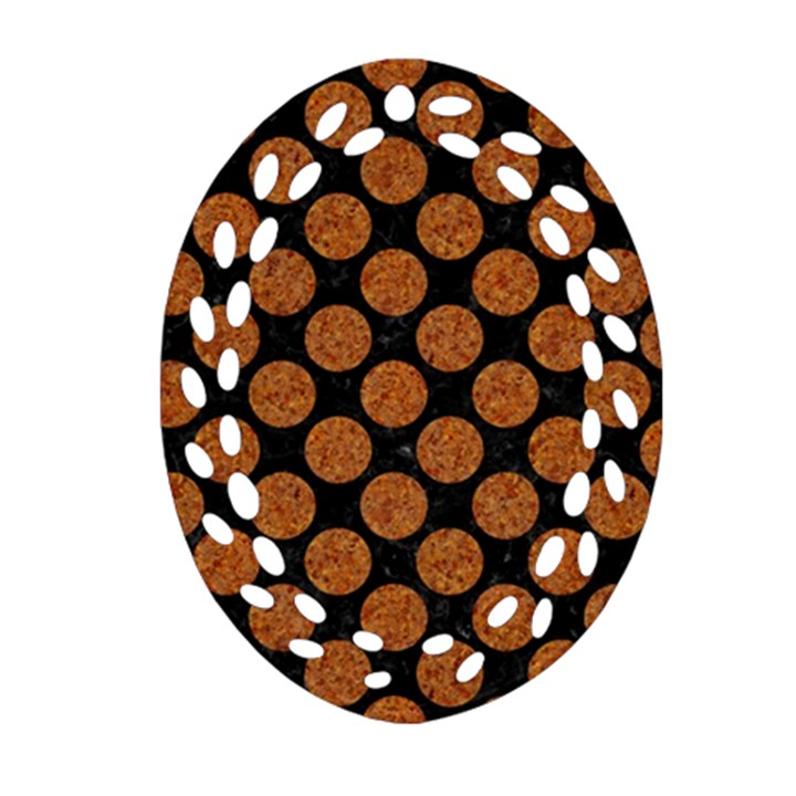 CIRCLES2 BLACK MARBLE & RUSTED METAL (R) Oval Filigree Ornament (Two Sides)