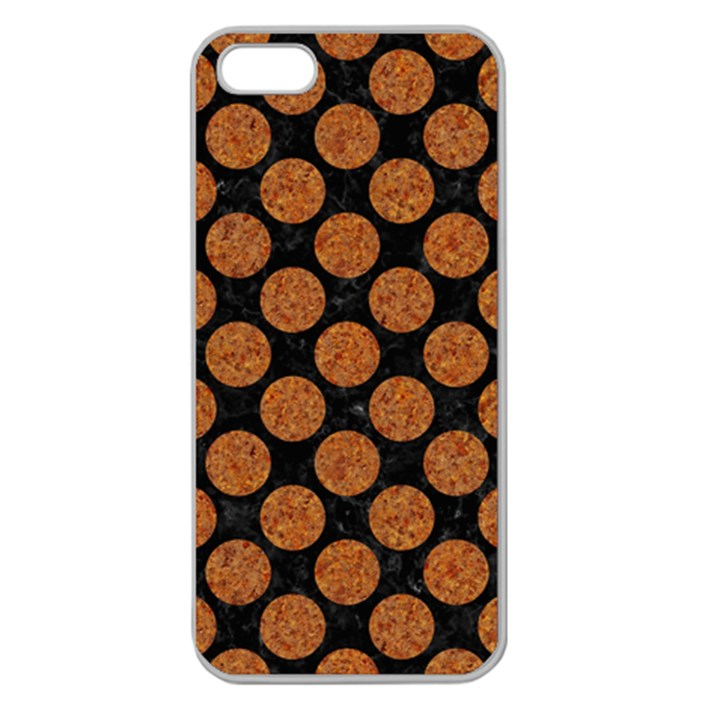 CIRCLES2 BLACK MARBLE & RUSTED METAL (R) Apple Seamless iPhone 5 Case (Clear)