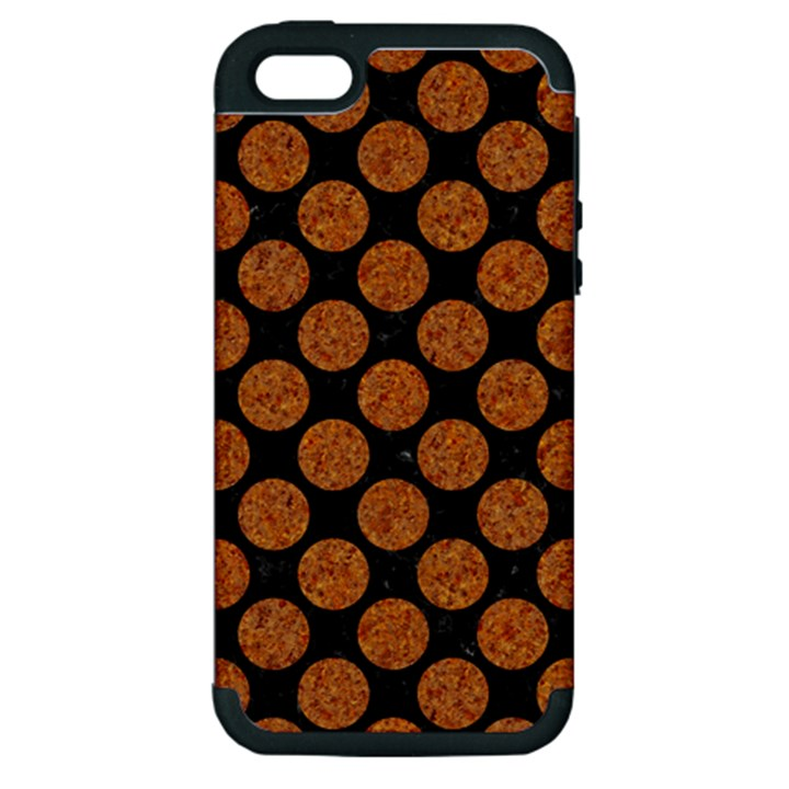 CIRCLES2 BLACK MARBLE & RUSTED METAL (R) Apple iPhone 5 Hardshell Case (PC+Silicone)