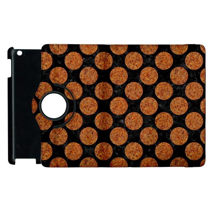 CIRCLES2 BLACK MARBLE & RUSTED METAL (R) Apple iPad 3/4 Flip 360 Case