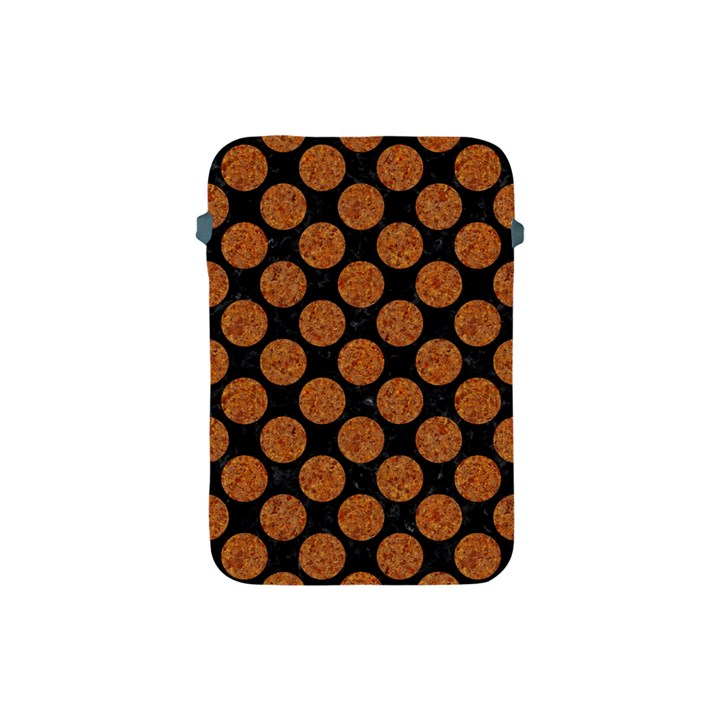 CIRCLES2 BLACK MARBLE & RUSTED METAL (R) Apple iPad Mini Protective Soft Cases
