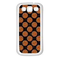 Circles2 Black Marble & Rusted Metal (r) Samsung Galaxy S3 Back Case (white)