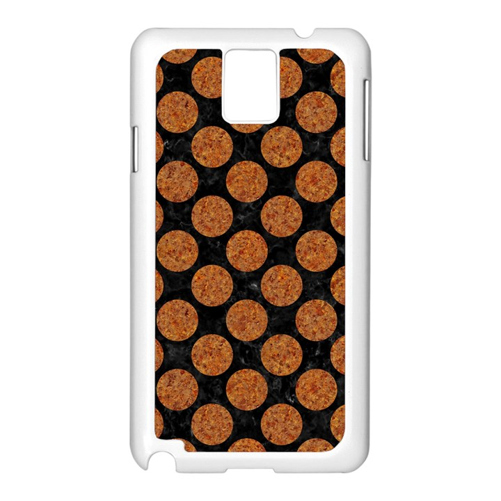 CIRCLES2 BLACK MARBLE & RUSTED METAL (R) Samsung Galaxy Note 3 N9005 Case (White)