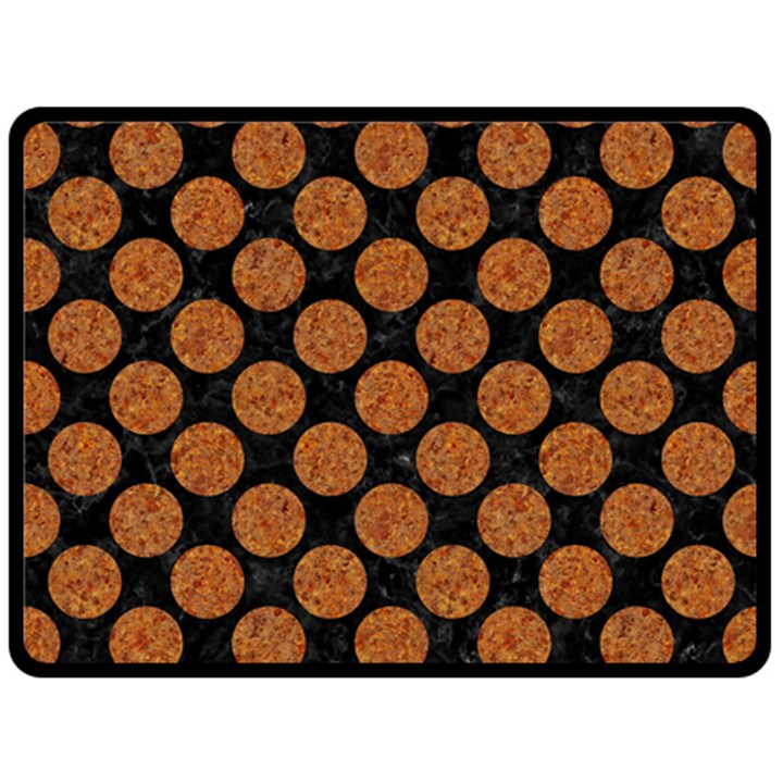 CIRCLES2 BLACK MARBLE & RUSTED METAL (R) Double Sided Fleece Blanket (Large)