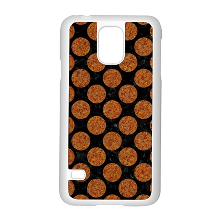 CIRCLES2 BLACK MARBLE & RUSTED METAL (R) Samsung Galaxy S5 Case (White)