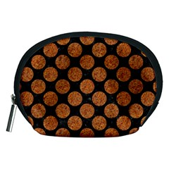 Circles2 Black Marble & Rusted Metal (r) Accessory Pouches (medium)