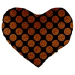 CIRCLES2 BLACK MARBLE & RUSTED METAL (R) Large 19  Premium Flano Heart Shape Cushions Front