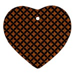CIRCLES3 BLACK MARBLE & RUSTED METAL Ornament (Heart) Front
