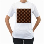 CIRCLES3 BLACK MARBLE & RUSTED METAL Women s T-Shirt (White) (Two Sided) Front