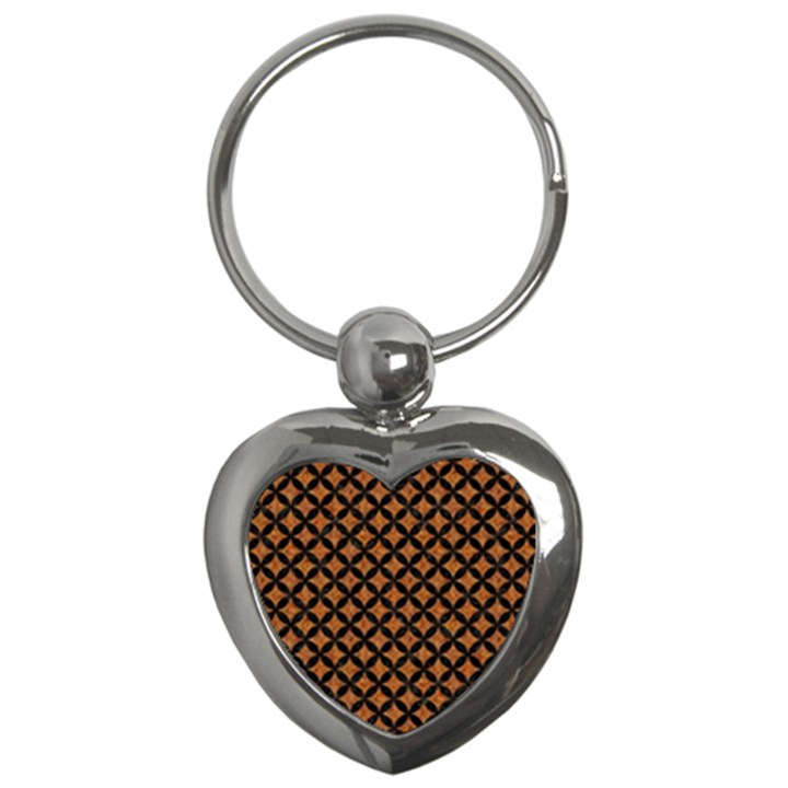 CIRCLES3 BLACK MARBLE & RUSTED METAL Key Chains (Heart)