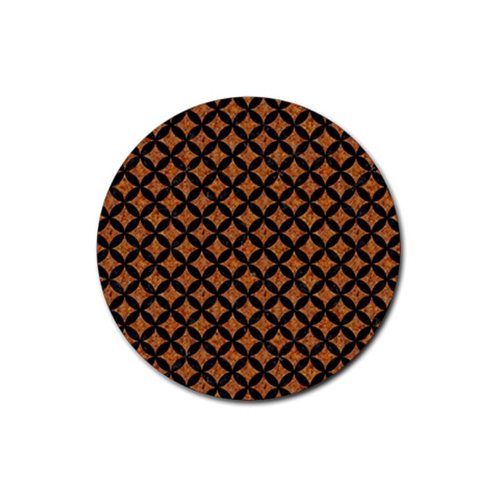 CIRCLES3 BLACK MARBLE & RUSTED METAL Rubber Round Coaster (4 pack)