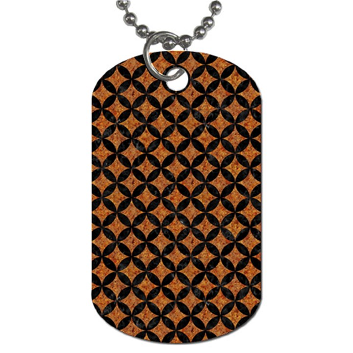 CIRCLES3 BLACK MARBLE & RUSTED METAL Dog Tag (Two Sides)