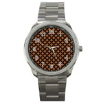 CIRCLES3 BLACK MARBLE & RUSTED METAL Sport Metal Watch Front