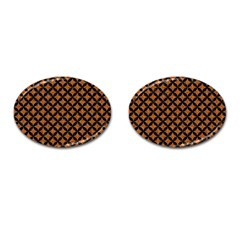 Circles3 Black Marble & Rusted Metal Cufflinks (oval)
