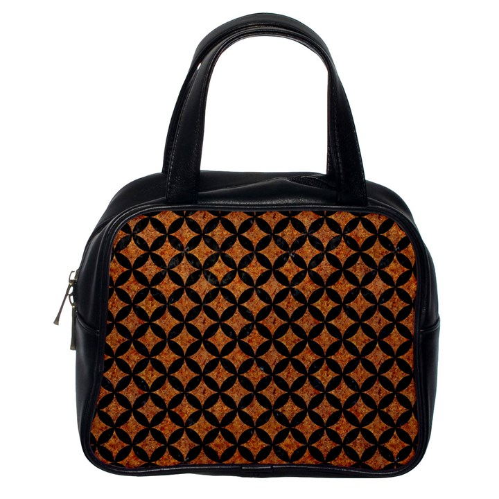 CIRCLES3 BLACK MARBLE & RUSTED METAL Classic Handbags (One Side)