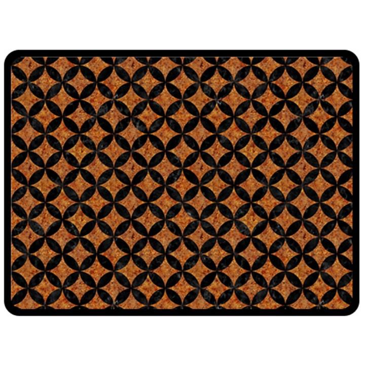 CIRCLES3 BLACK MARBLE & RUSTED METAL Fleece Blanket (Large)