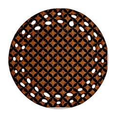 Circles3 Black Marble & Rusted Metal Round Filigree Ornament (two Sides)