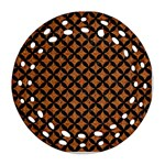 CIRCLES3 BLACK MARBLE & RUSTED METAL Round Filigree Ornament (Two Sides) Back